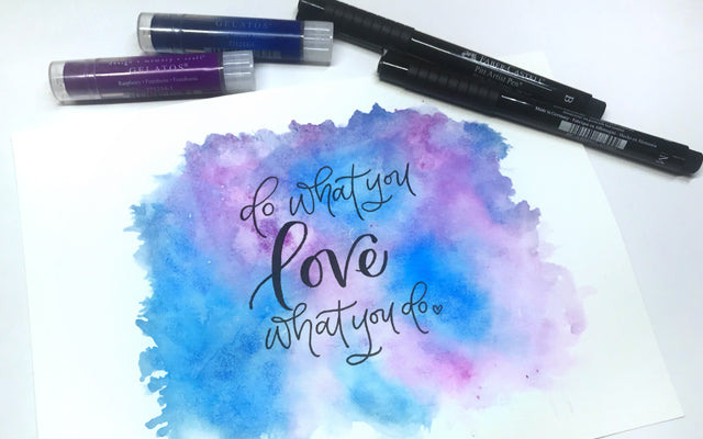 Watercolor Gelatos, Pitt Artist Pens, and Hand Lettering