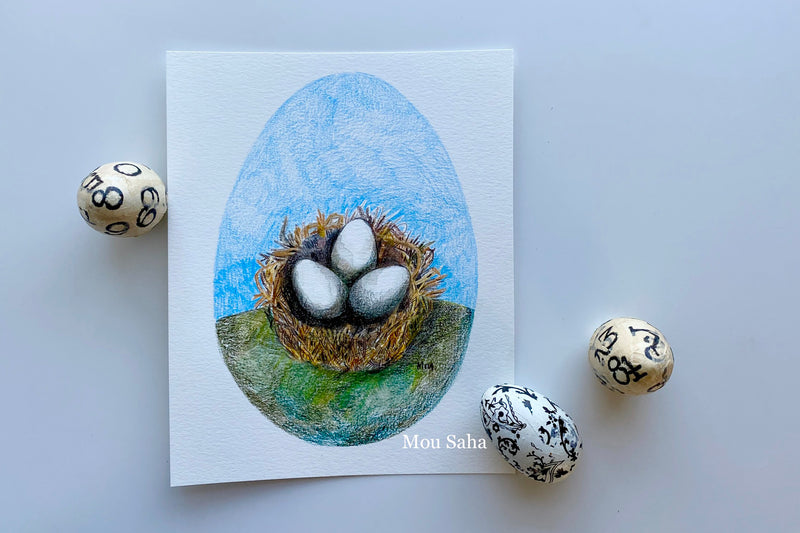 Birds Nest Art with Eggs