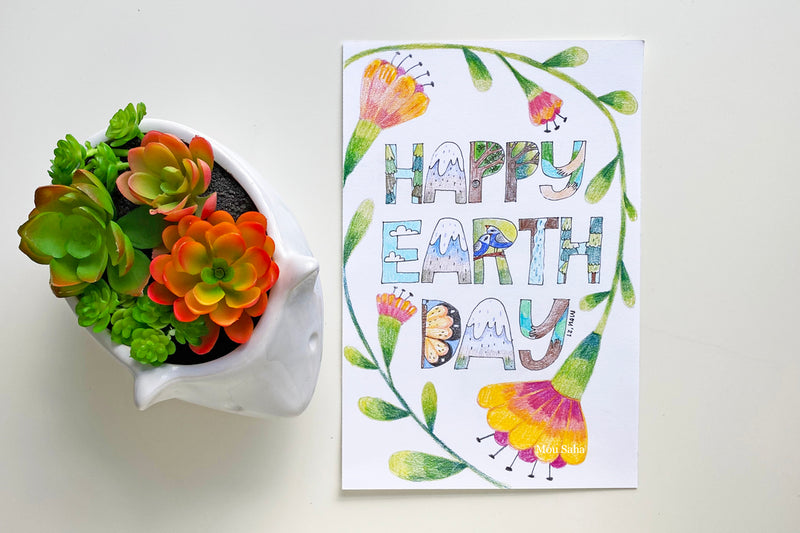 Happy Earth Day lettering
