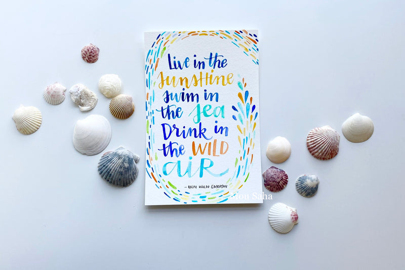 Watercolor lettering with sea shells