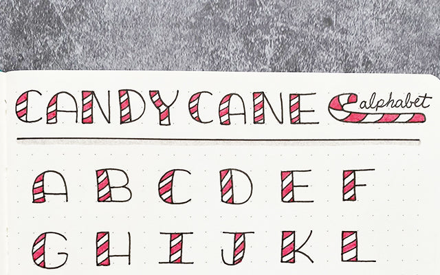 Bullet Journal Candy Cane Alphabet