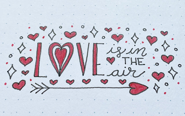 Bullet Journal doodles love is in the air