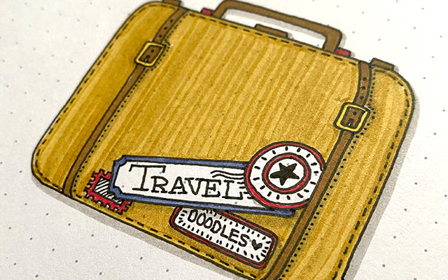 Bullet Journal Travel Doodle of Luggage Bag