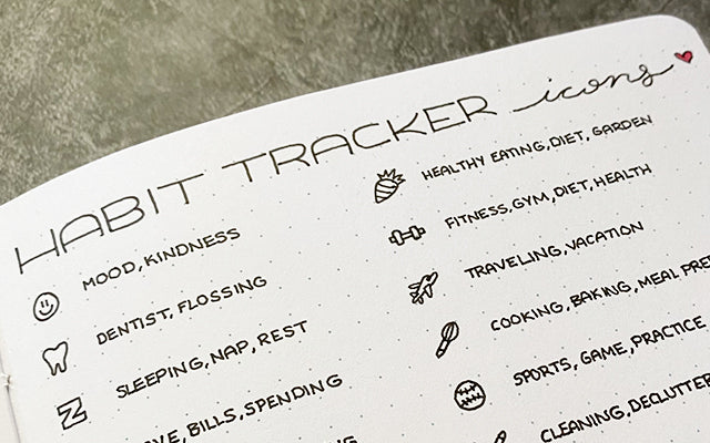 Habit tracker icons and Bullet Journal
