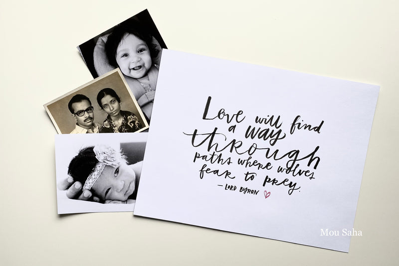 Hand lettered love letter and pictures
