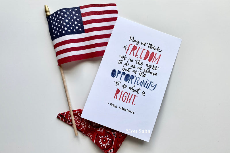 Freedom hand lettering with American flag
