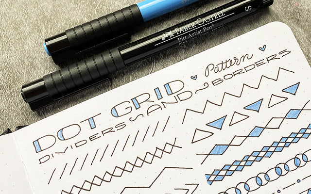 Bullet Journal with dot grids, dividers, and borders and Pitt Artist Pens