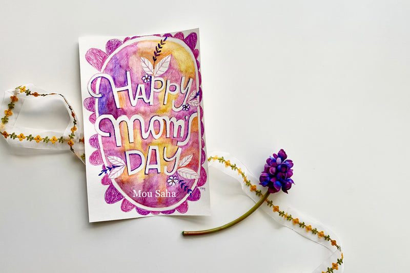 Happy Moms Day watercolor art