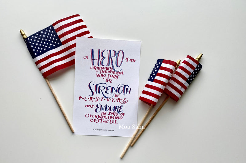 Hero Hand Lettering and American Flags