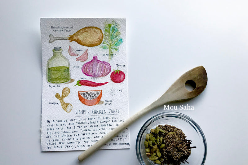 Recipe Doodles with Spoon and Herbs