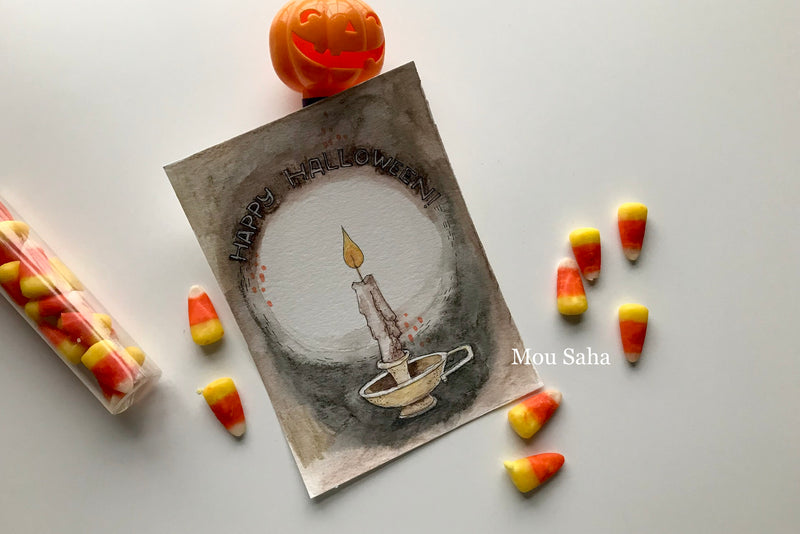 Watercolor Halloween Candle Art with Candy Corn