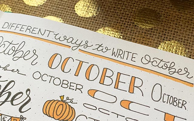 October Font on Bullet Journal