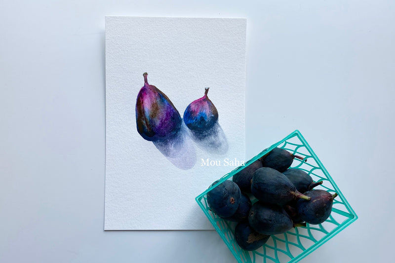 Watercolor figs and figs in basket