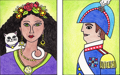 Contemporary Folk Art Portrait Art Lesson for Kids