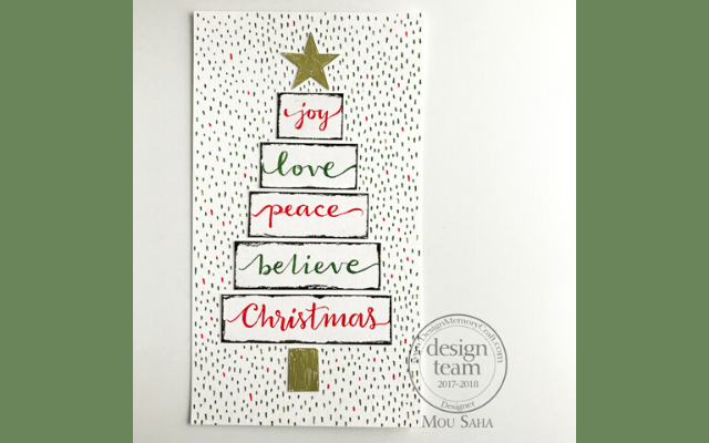 Hand Lettered holiday art saying: joy, love, peace, believe, and Christmas