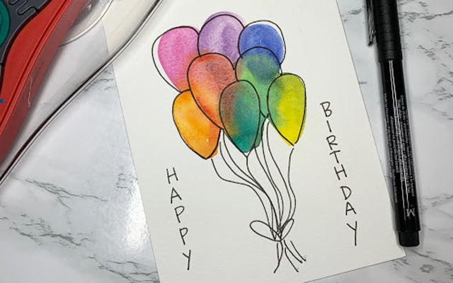 Watercolor Balloon Happy Birthday Card