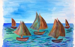 Monet's Boats Watercolor Art Lesson for Kids