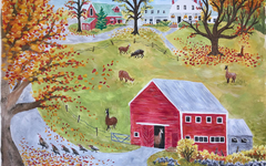 Watercolor Art Lesson for Kids - Grandma Moses' Farm