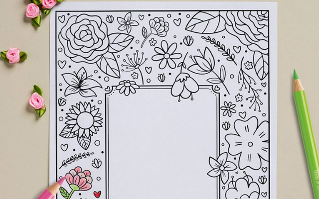Mothers Day Card coloring page and pencil