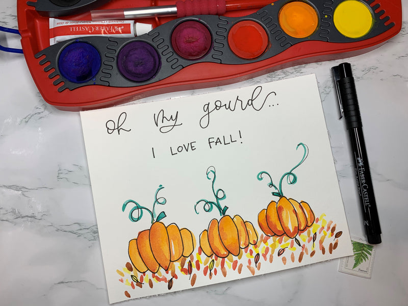Oh my Gourd Watercolor Pumpkin Doodles