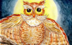 Great Horned Owl Watercolor Art Lesson for Kids