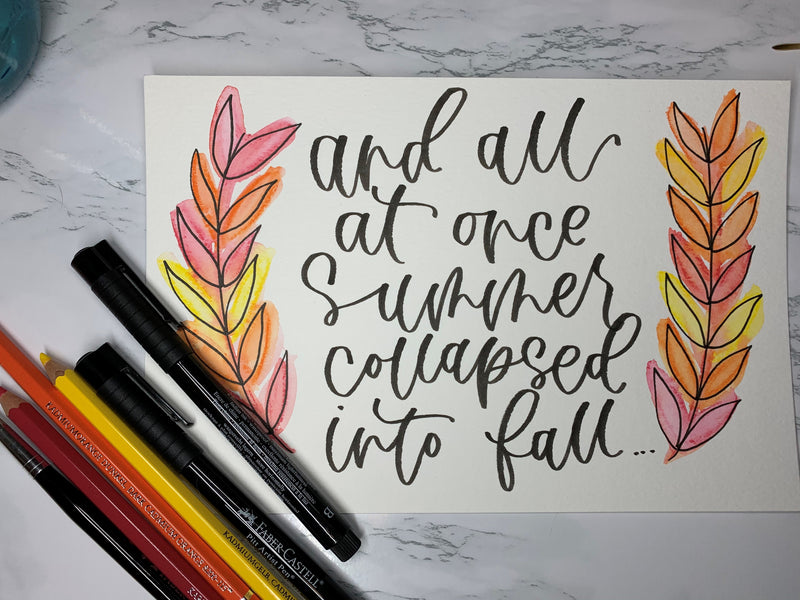 Watercolor Fall Wreath and Pitt Artist Pens