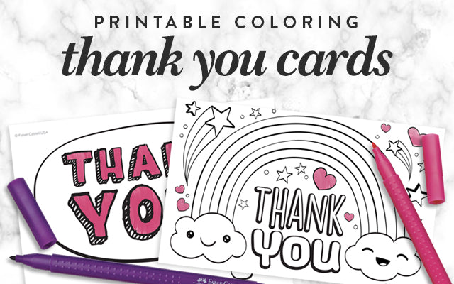 Printable Coloring Thank You Cards
