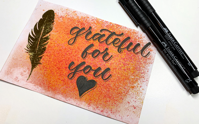 Grateful for You Marble Art and Pitt Artist Pens