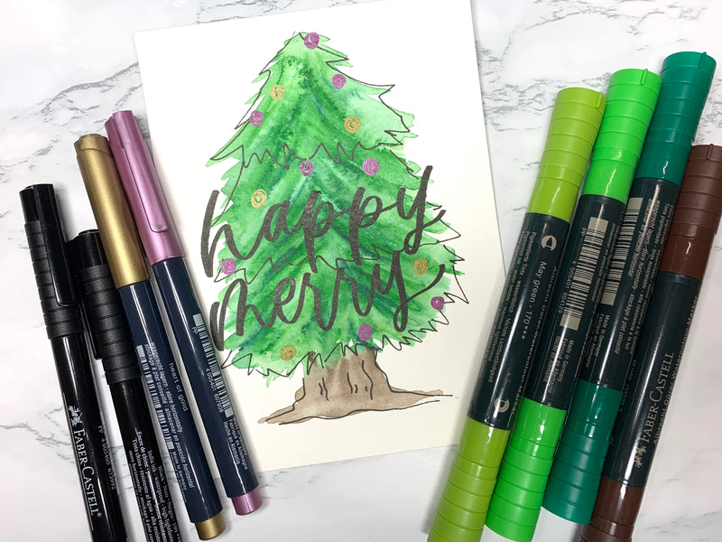 Watercolor Christmas Tree with Pitt Artist Pens, Metallic Markers, and Watercolor Markers