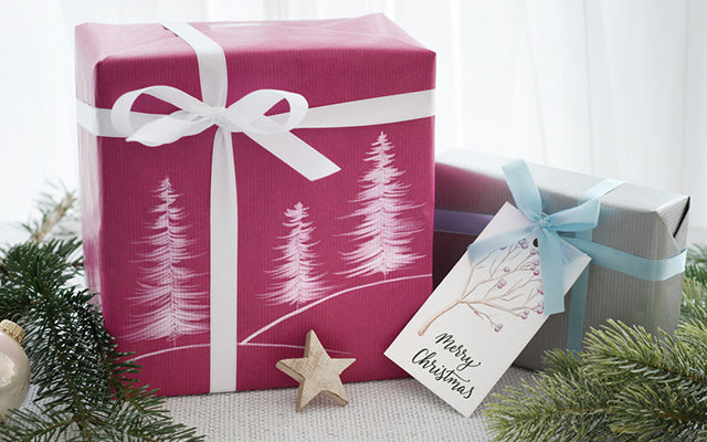 DIY Wrapping Paper Christmas Trees