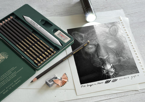 Pitt Graphite Matte Pencils with drawing