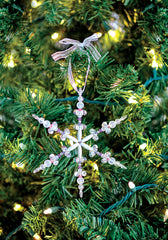 Christmas Craft for Kids - Beaded Snowflake Ornament on Christmas Tree