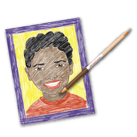 Child's face with World Colors Pencil