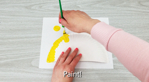 Paper Plate Painted with Yellow Paint