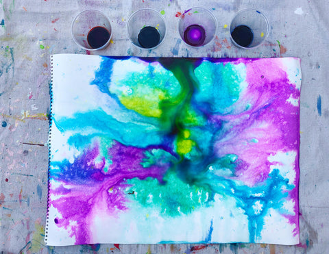 Watercolor paints poured on paper