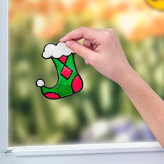 Christmas Craft for Kids - Holiday Sparkling Window Art
