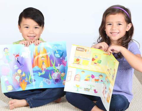 Two children with sensory sticker playsets