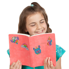 Big Gem Diamond Painting stickers on journal with girl