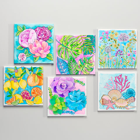 Watercolor paint by number canvases