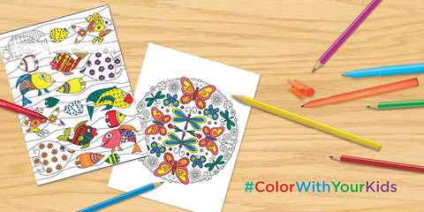 Coloring Pages for Kids and Colored Pencils
