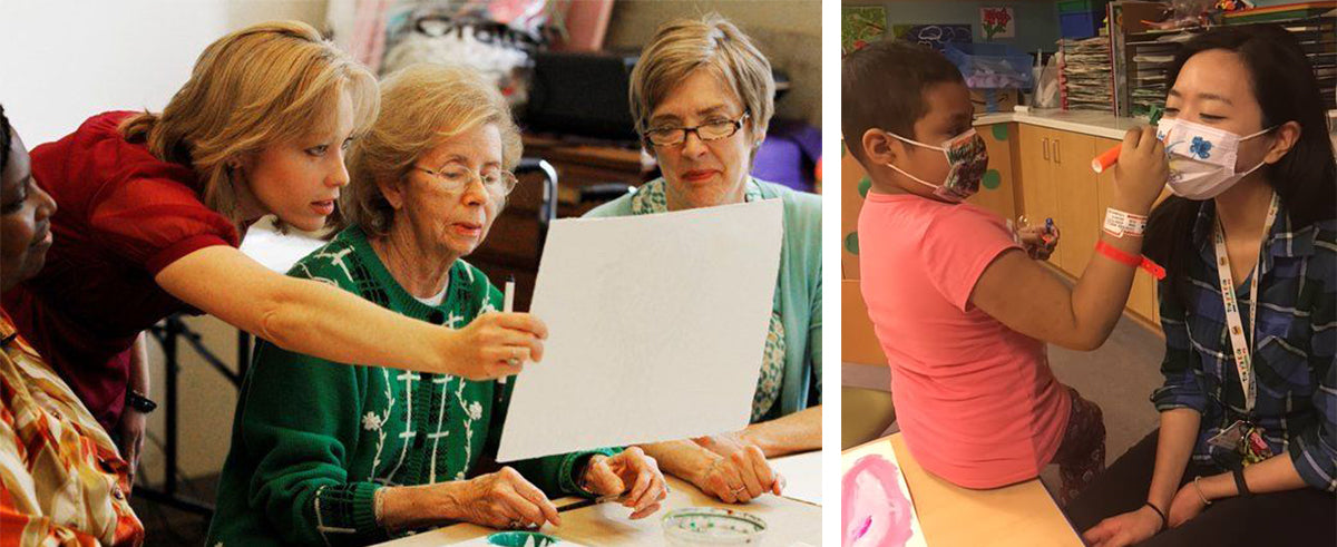 Image One: Woman using art therapy with adults. Image Two: Child and Adult using Art Therapy