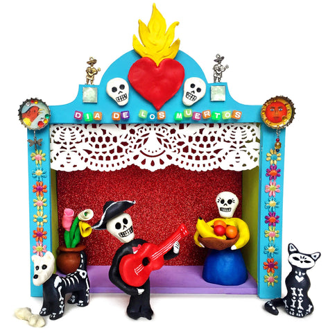 Day of the Dead stage and clay figures