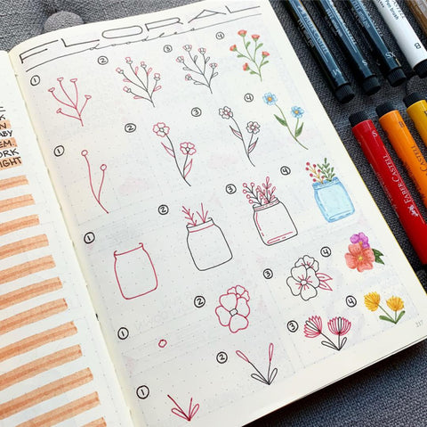 Floral Doodles in Bullet Journal