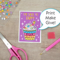 Big Gem Diamond Painting Sticker on Valentine with Scissors and Stylus. Print Make Give!