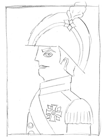 Sketch of a man in a soldier outfit
