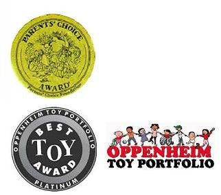Parents Choice Award and Oppenheim Best Toy Award Seals