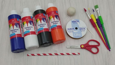 Craft Supplies - Tempera Paint, Scissors, Ribbon, Paintbrushes, and Clay