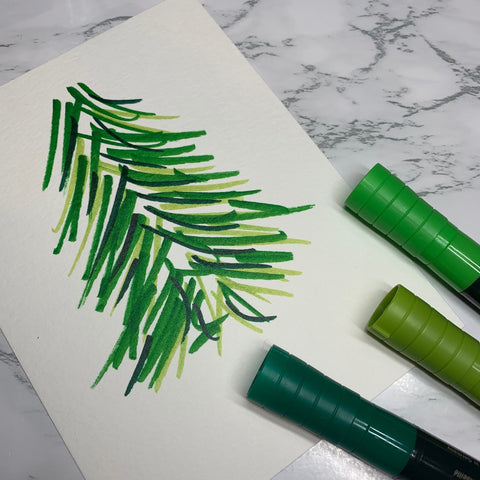 Watercolor Markers with a Tree