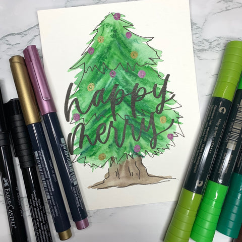 Watercolor Christmas Tree with Pitt Artist Pens, Metallic Markers, and Alrecht Dürer Watercolor Markers