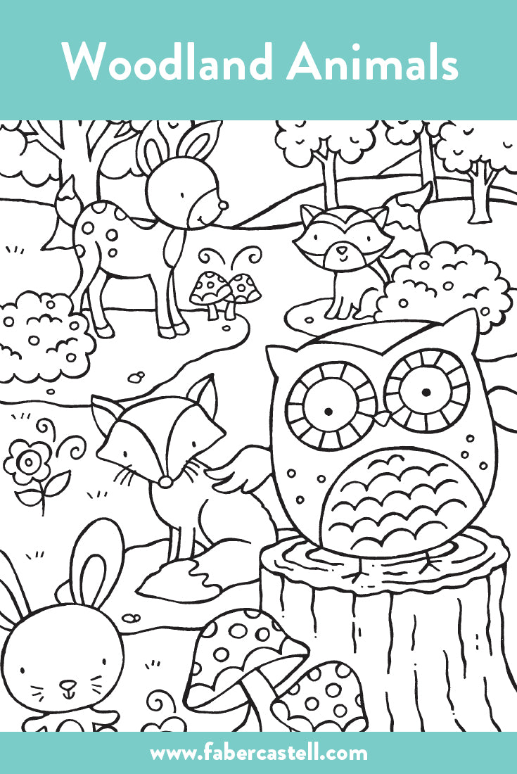 Woodland Animals Coloring Page
